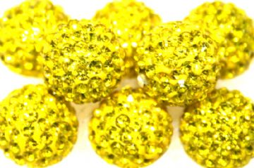 10mm Bright Yellow 115 Stone  Pave Crystal Beads- Half Drilled PCBHD10-115-016